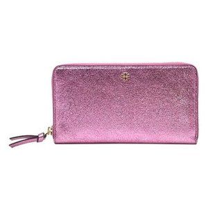 Tory Burch Metallic Continental Leather Wallet